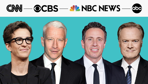 Rachel Maddow, Anderson Cooper, Chris Cuomo, and Lawrence O'Donnell