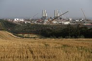 The Hinkley Point C nuclear power station site near Bridgwater, England.