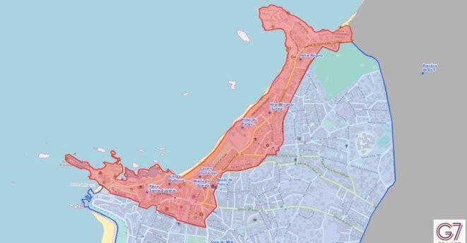 Carte de la zone rouge prévue pour le G7 à Biarritz. © Ville de Biarritz