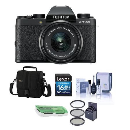 X-T100 Mirrorless Digital Camera, Black with XC15-45mmF3.5-5.6 OIS PZ Lens - Bundle With C