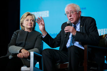 """Senator Bernie Sanders, who famously said that """"the American people are sick and tired of hearing about your damn emails"""" during a Democratic debate last October, appearing with Hillary Clinton at a campaign event in Durham, N.H., last month."""