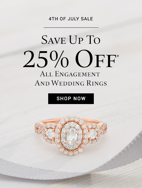 Save up to 25% off* all engagement and wedding rings for a limited time.