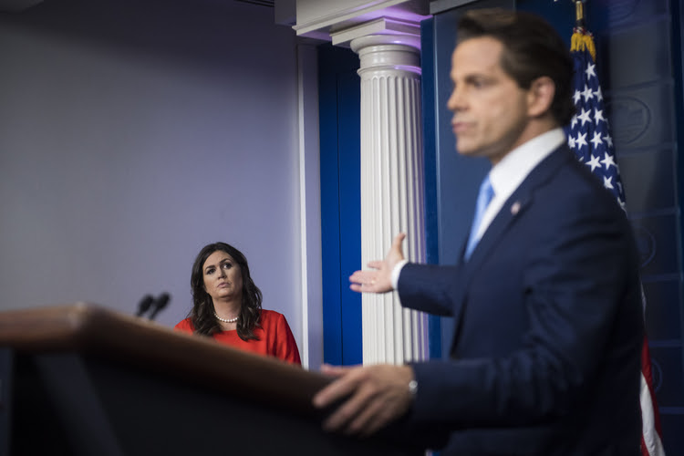 Anthony Scaramucci speaks to reporters. (Jabin Botsford/The Washington Post)