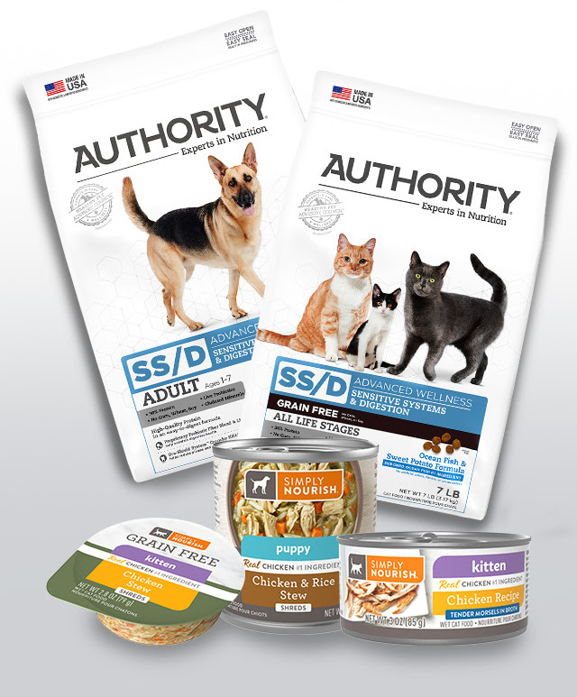 Authority & Simply Nourish dog & cat food