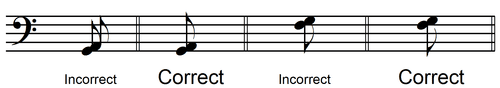 eighth note harmonic 2nd - line to space