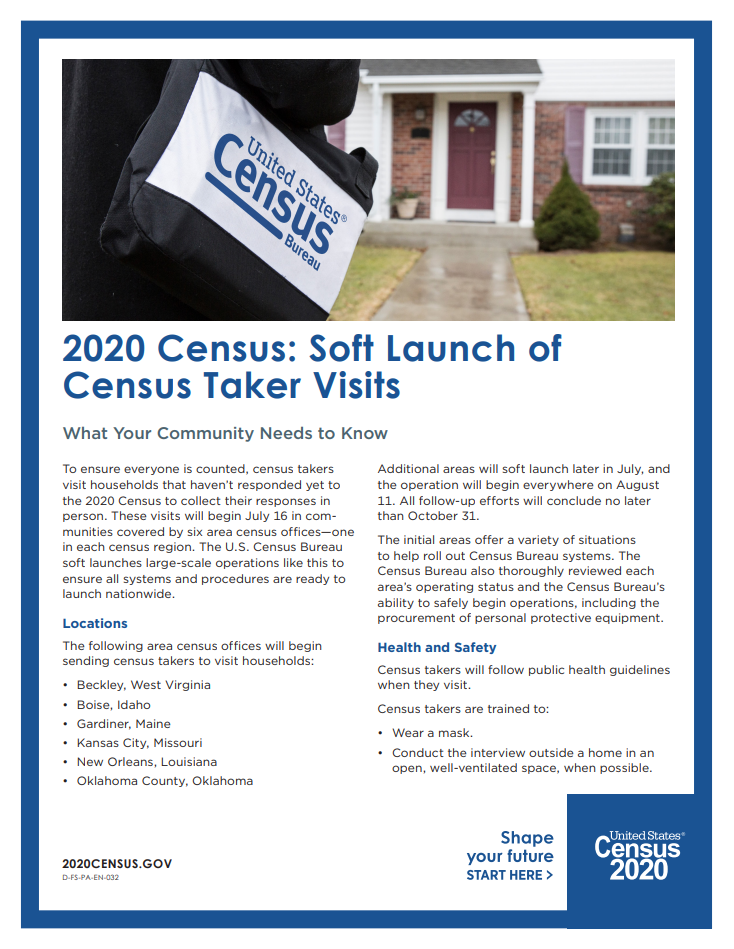 Soft Launch of Census Taker Visits