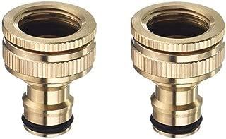 Topways® 3/4 Pulgadas y 1/2 Pulgada BSP 2in1 Metal latón Adaptador de Grifo roscado Exterior Conector de Manguera Graden Tap Connector Threaded Faucet Adapter 2 Pieza