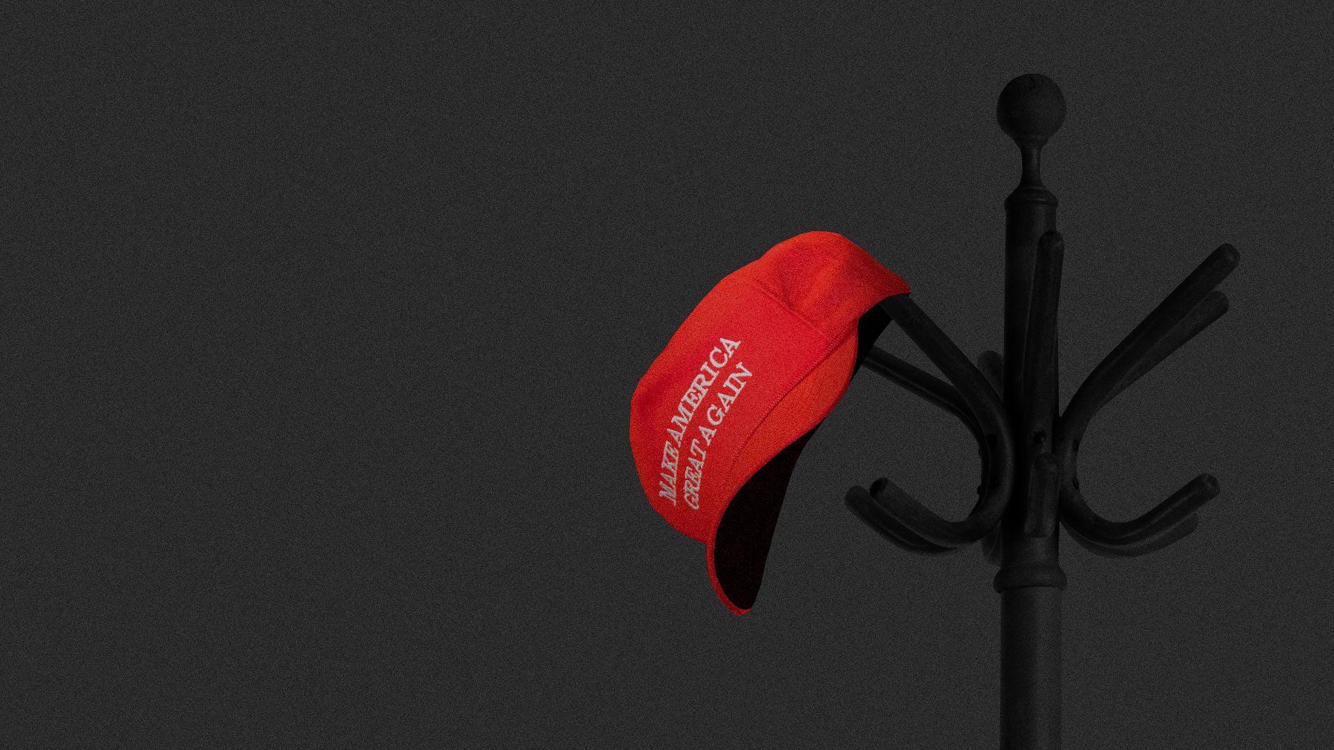 Illustration of MAGA hat hung up on coat rack