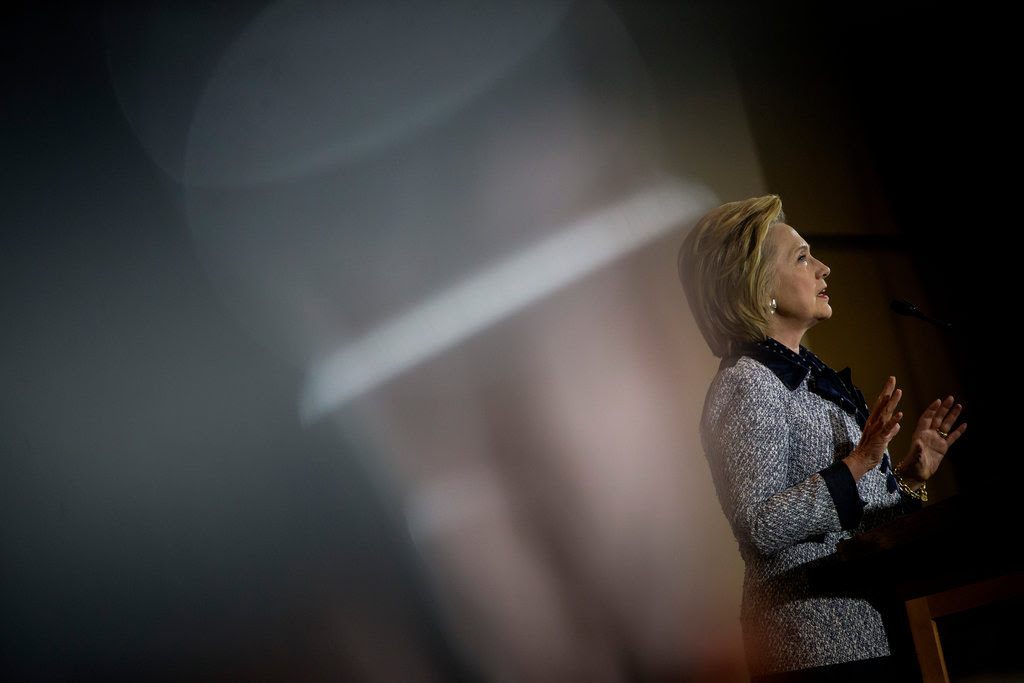 Hillary Clinton speaking at a campaign event in Pittsburgh on Tuesday.