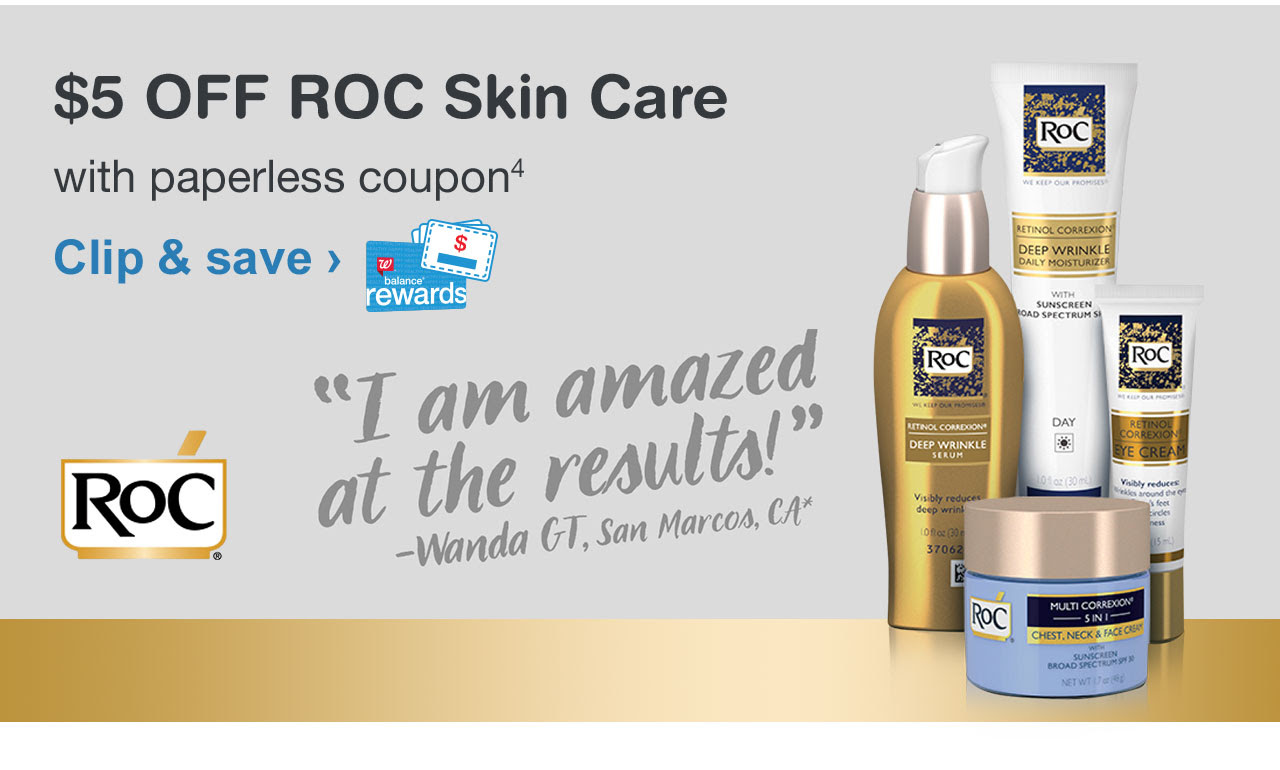 $5 OFF ROC Skin Care with paperless coupon. Clip & save.
