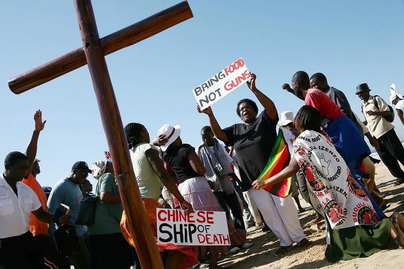 Năm 2008, các công đoàn, giáo hội và các nhà lãnh đạo nhân quyền ở các nước Nam Phi phản đối tàu chở vũ khí An Nhạc Giang (An Yue Jiang) của Trung Quốc đến khu vực Nam Phi.