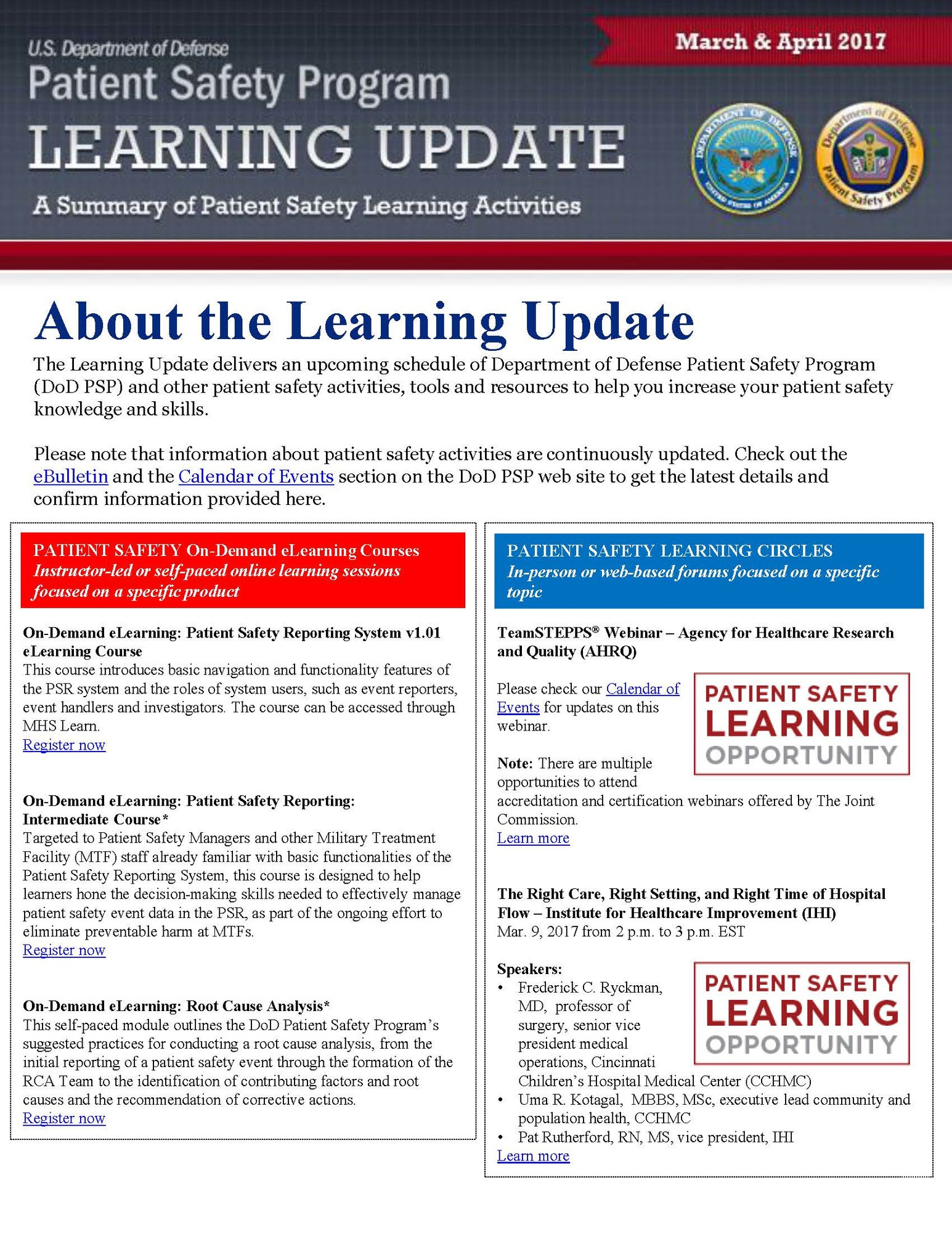 DoD PSP Learning Update: March-April 2017