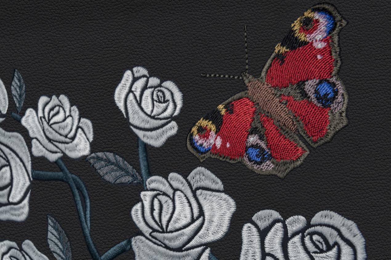 Rolls Royce Rose Phantom__Interior_Red_Butterfly_Closeup_Image courtesy Rolls-Royce Motor Cars