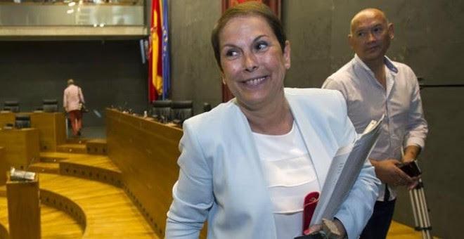 Uxue Barkos tras ser elegida el lunes presidenta del Gobierno de Navarra: /EFE