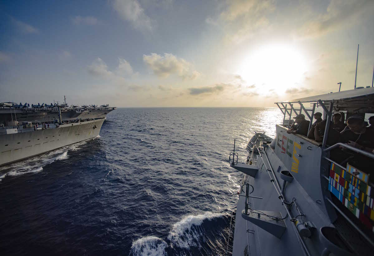 160630-N-OR652-043MEDITERRANEAN SEA (June 30, 2016) – The guided-missile cruiser USS San Jacinto (CG 56) pulls alongside the Fleet Replenishment Oiler USNS Big Horn (T-AO 198) prior to a replenishment-at-sea. San Jacinto is deployed in support of Operation Inherent Resolve, maritime security operations and theater security operation efforts in the U.S. 6th Fleet area of operations. (U.S. Navy photo by Mass Communication Specialist 3rd Class J. Alexander Delgado/Released)