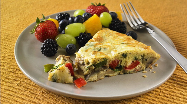 Cheese and Vegetable Frittata with Fruit Salad