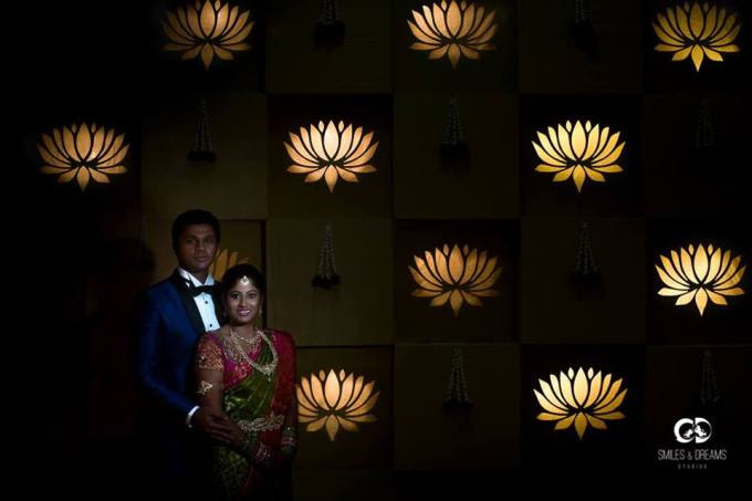 Lotus backdrop couple picture