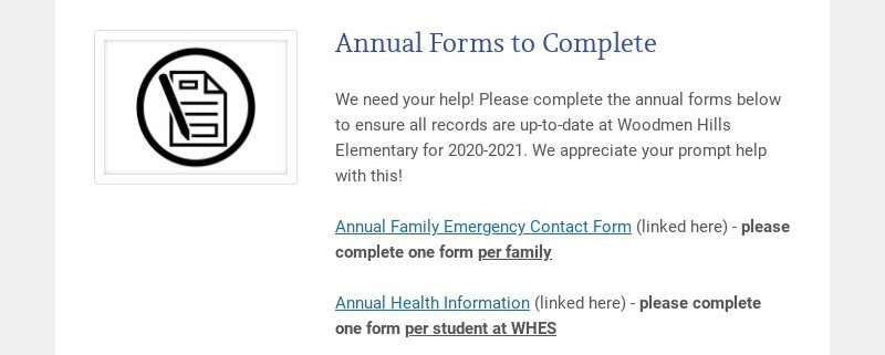Annual Forms to Complete