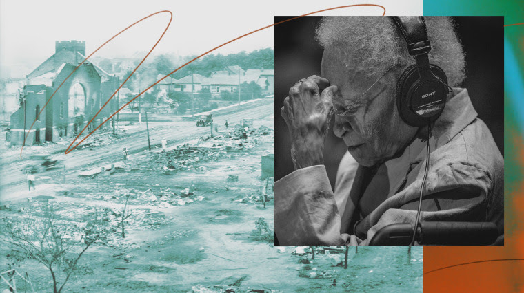 Photo illustration of Tulsa Massacre aftermath and a photo of Viola Fletcher in 2021.