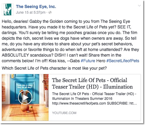 Image of Facebook post where Gabby talks about the Secret Life of Pets Movie