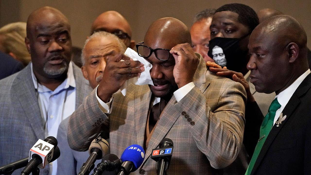 George Floyd's brother Philonise Floyd wipes his eyes during a news conference after the verdict was read in the trial of former Minneapolis Police officer Derek Chauvin for the murder of George Floyd, Minneapolis, Minn., April 20, 2021.