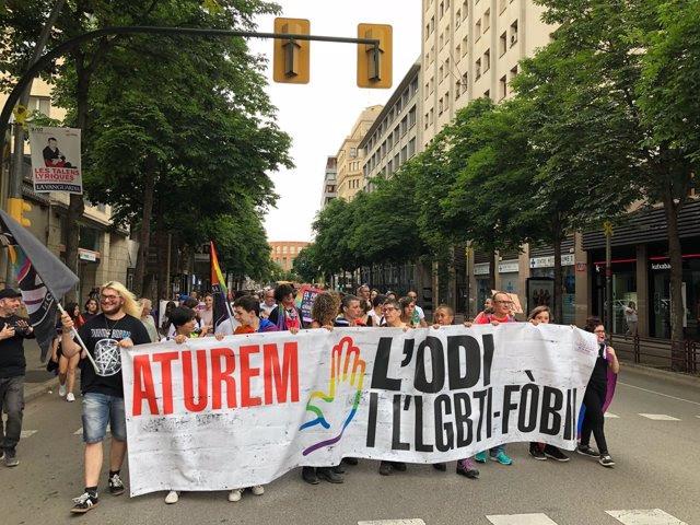 Manifestació contra la LGTBI-fòbia a Girona