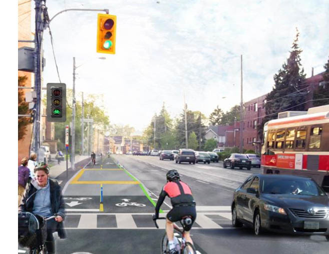 Proposed rendering of bi-directional cycle track on Lake Shore Blvd W at Royal York Rd