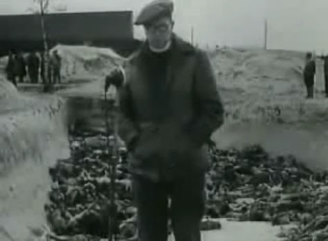 "An English reporter with Hebrew                               accent is installed before the mass grave                               from allegedly April 24, 1945 filled with                               dead bodies (24min. 44sec.) - stating he                               ""does not know where the dead bodies                               are coming from""..."