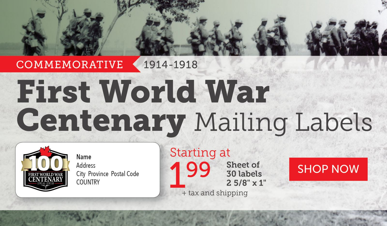 First World War Centenary Mailing Labels