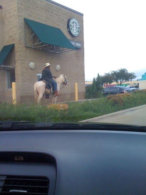 This                                                           cowboy just                                                           trying to get                                                           his caffeine                                                           fill. Moments                                                           That