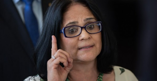 La ministra de Familia de Brasil, Damares Alves./AFP