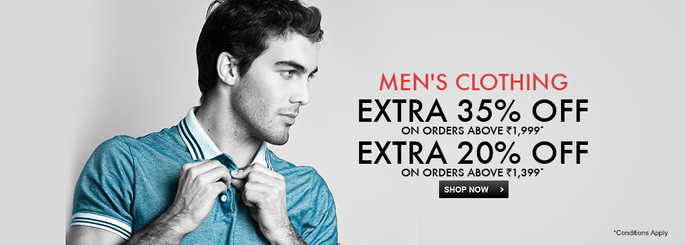 Shop worth Rs. 1399 or more and get extra 20% Off, Shop worth Rs. 1999 or more get extra 35% off on select men's Clothing, See final price in cart