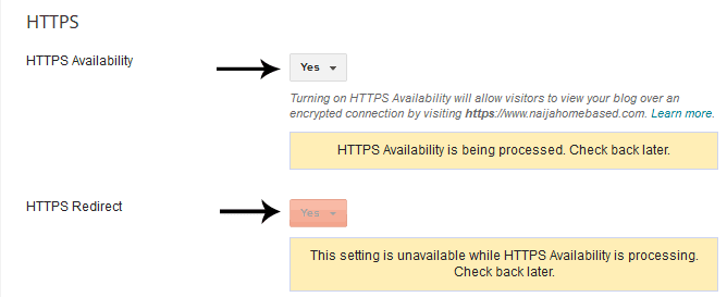 HTTPS Availability YES and HTTPS Redirect YES
