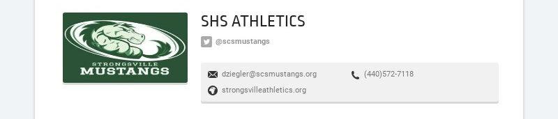 SHS ATHLETICS @scsmustangs dziegler@scsmustangs.org (440)572-7118 strongsvilleathletics.org