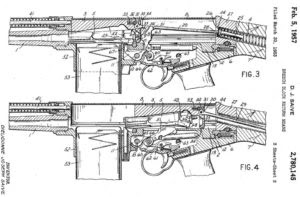 Patent for FN FAL rifle, showing simple short stroke gas piston rod in front of the separate bolt carrier.