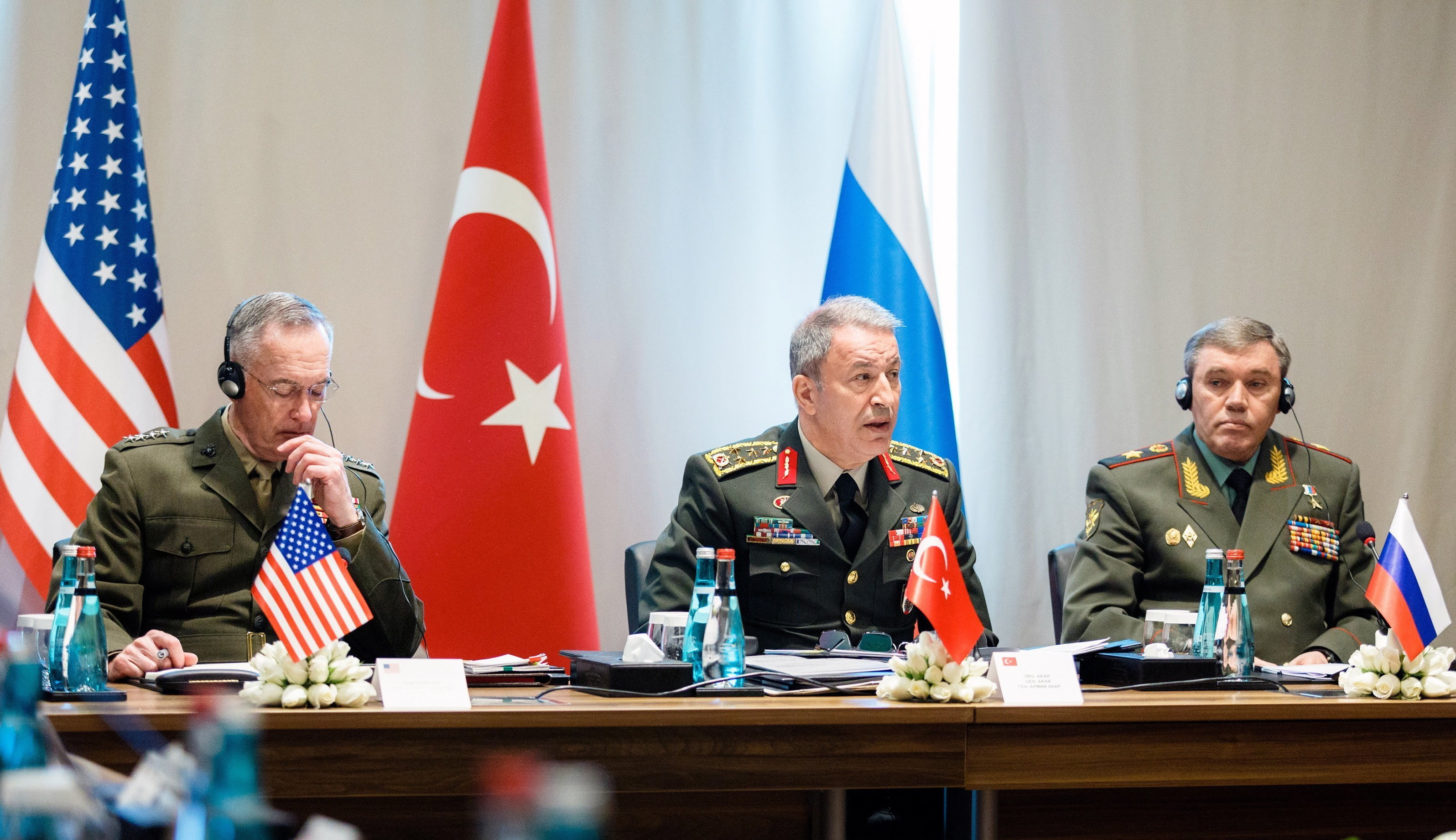 Joint Chiefs Chairman Gen. Joseph Dunford Jr. with his Turkish and Russian counterparts, Gens. Hulusi Akar and Valery Gerasimov, March 7.