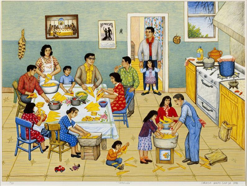 Tamalada (1990) by Carmen Lomas Garza