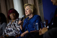 Hillary Clinton during a discussion with the Mothers of the Movement, a group of black women who have lost children in clashes with the police or in gun violence, in Philadelphia in April.