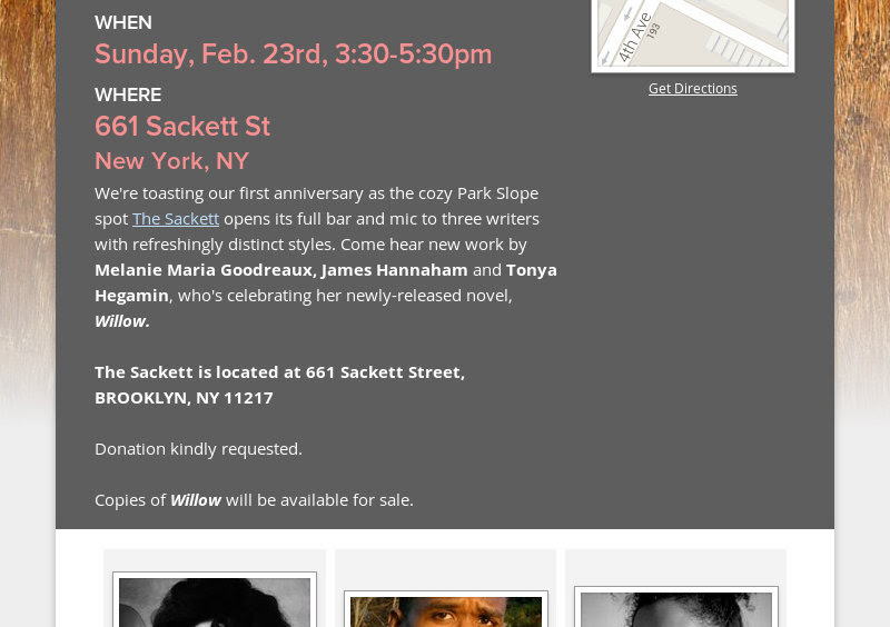 Sundays @. . .The Sackett: Celebrating our First Year<br /> WHEN<br /> Sunday, Feb. 23rd, 3:30-5:30pm<br /> WHERE<br /> 661...