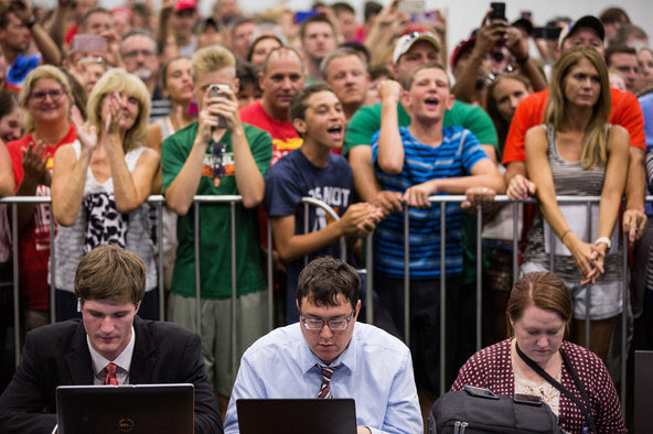 Reporters working as supporters waited for Donald J. Trump at a campaign event in Westfield, Ind., on Tuesday.