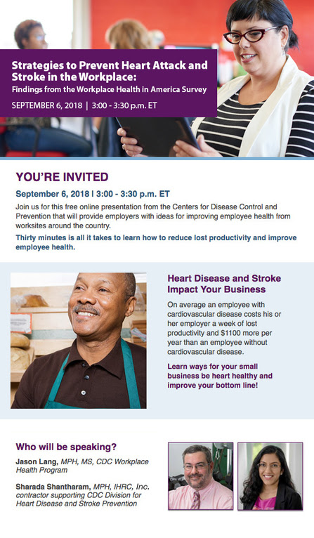 Register for September 6 webinar, 3 to 3:30 p.m. Eastern Time, on Strategies to Prevent Heart Attack and Stroke in the Workplace