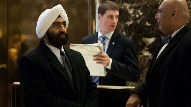 Jesse Singh, American Sikhs for Trump, and Sajid Tarar, founder of Muslim Americans for Trump, arrive at Trump Tower, January 5, 2017 in New York City.