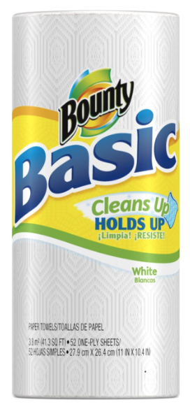 Bounty Basic Paper Towels 72¢.