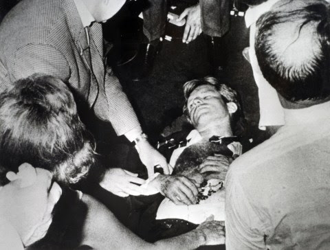 Politics, Los Angeles, California, USA, 5th June 1968, Assasination of Senator Robert F, Kennedy, Kennedy lies on the floor of the ballroom of the Ambassador Hotel after being shot, He was shot by Sirhan Bishara Sirhan (Photo by Popperfoto via Getty Images/Getty Images)