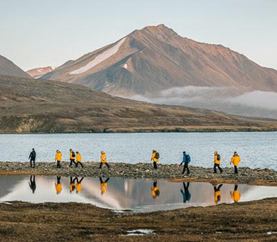 Passengers explore the Arctic on foot