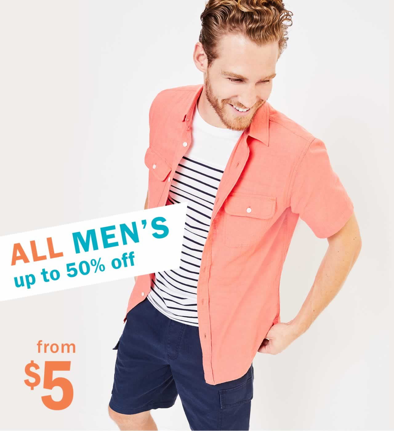 ALL MEN's up to 50% off from $5