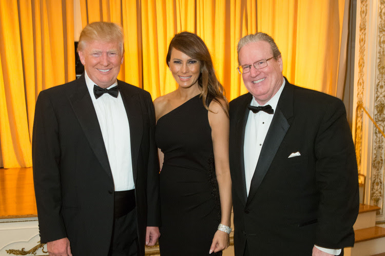 Donald Trump, Melania Trump and Patrick Park attend a ball at The Mar-a-Largo Club back in 2015 in Palm Beach. (Photo by Capehart/Getty Images)</p>