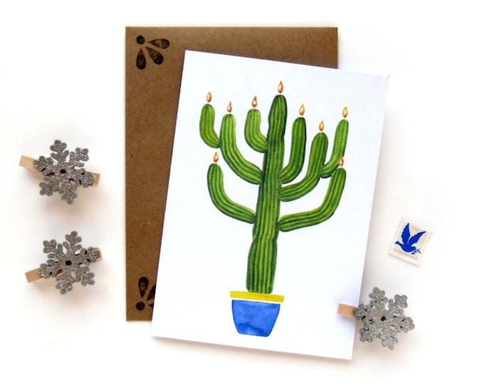 Saguaro Cactus Menorah | Hanukkah Watercolor Illustrated Card