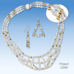 Triple-Strand Necklace and Earring Set with Preciosa Czech Crystal Beads