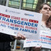 Supporters of transgender people serving in the military outside a federal courthouse on Tuesday in Seattle.